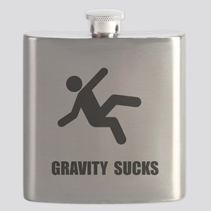 Gravity Sucks Black Flask
