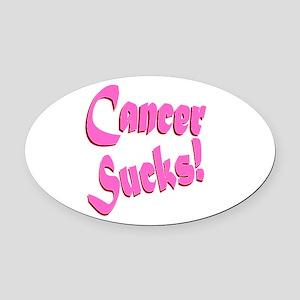Cancer Sucks Funny Pink Oval Car Magnet