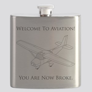 Aviation Broke Black Text Flask
