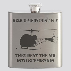 Helicopter Submission Black on White Flask
