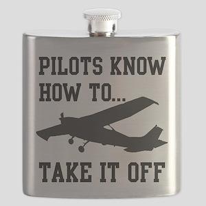 PilotsTakeOff Black Flask