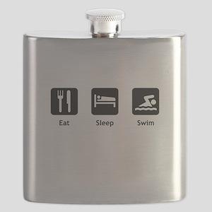 Eat Sleep Swim Black Flask