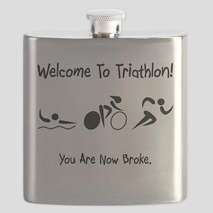 Triathlon Broke Black Flask