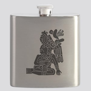 Mexican Aztec Seal Black White Flask