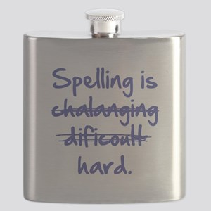 Spelling Is Hard Blue Flask