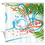 Graffiti and Palm Tree Shower Curtain