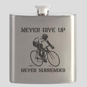 Never Give Up Biker Black Flask