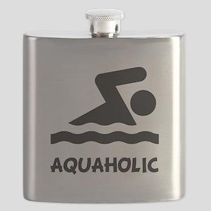 Aquaholic Swimmer Black Flask