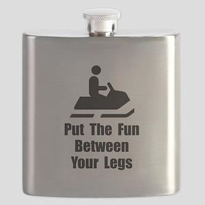 Snowmobile Fun Black Flask