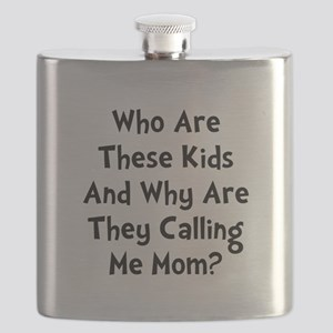Kids Calling Me Mom Black Flask