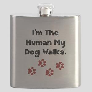 Human Dog Walks Black Flask