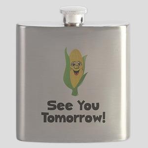 Corn See Tomorrow Black Flask