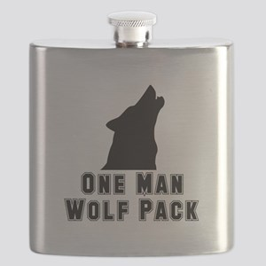 One Man Wolf Pack Black Flask