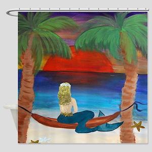 Giant Orange Sunset Hammock Mermaid Shower Curtain
