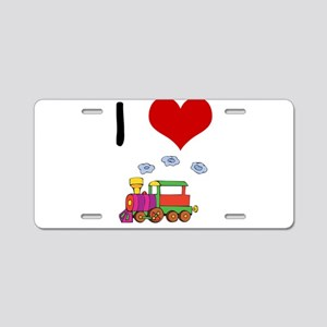 I Love Trains Aluminum License Plate