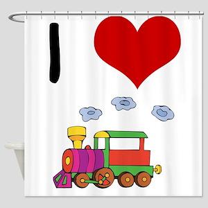 I Love Trains Shower Curtain