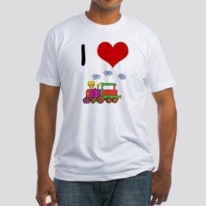 I Love Trains Fitted T-Shirt