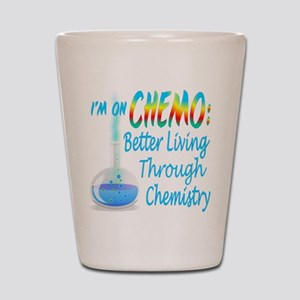 Funny Cancer CHEMO Chemistry Blue Shot Glass