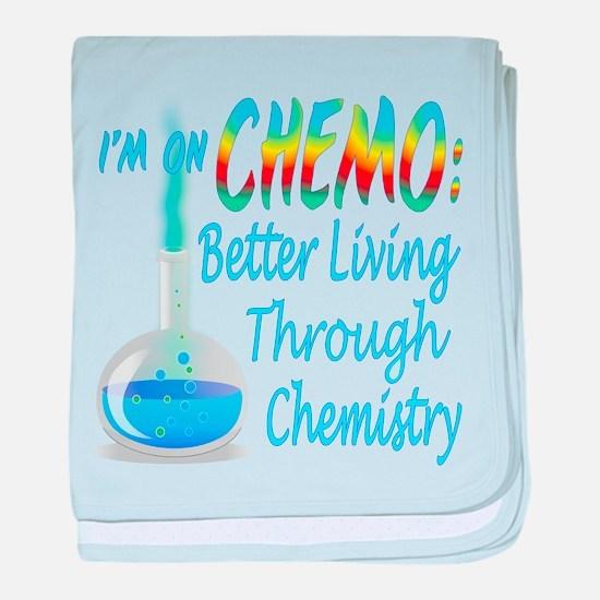 Funny Cancer CHEMO Chemistry Blue baby blanket
