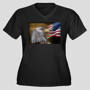 We The Peopl Women's Plus Size V-Neck Dark T-Shirt