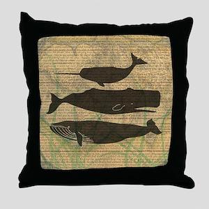 Vintage Whale Art Rustic Design Throw Pillow