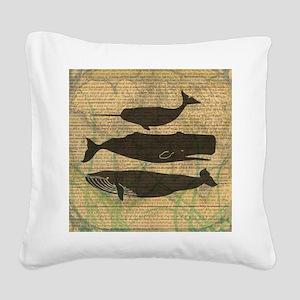Vintage Whale Art Rustic Desi Square Canvas Pillow