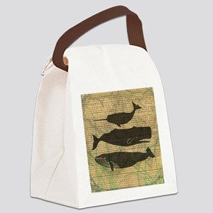 Vintage Whale Art Rustic Design Canvas Lunch Bag