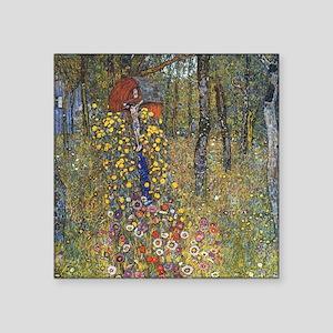 """Klimt Farm Garden With Crucifix Square Sticker 3"""""""