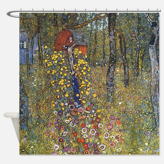 Klimt Farm Garden With Crucifix Shower Curtain