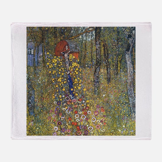 Klimt Farm Garden With Crucifix Throw Blanket