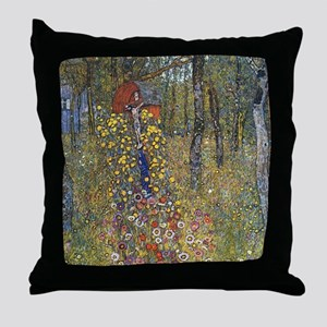Klimt Farm Garden With Crucifix Throw Pillow