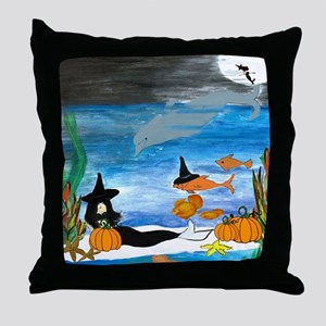 Mermaid Witch Halloween Party Throw Pillow