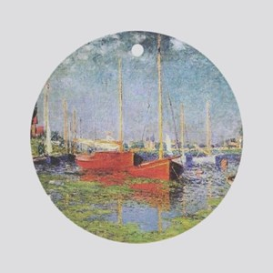 Red Boats at Argenteuil Ornament (Round)