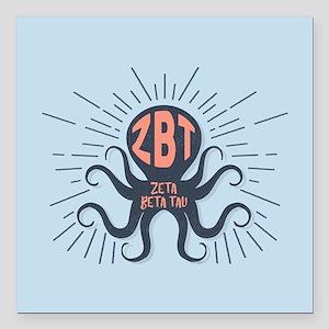 """Zeta Beta Tau Octopus Square Car Magnet 3"""" x 3"""""""