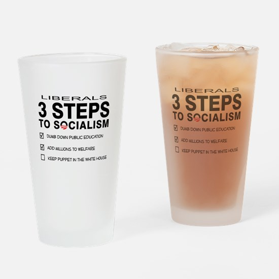 3 Steps To Socialism Drinking Glass
