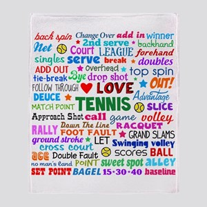 Tennis Terms Throw Blanket