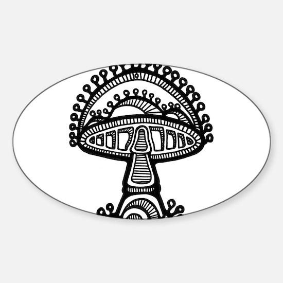 Abstract Mushroom Oval Decal
