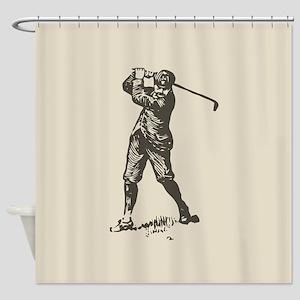 Retro Golfer Shower Curtain