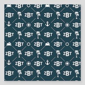"Zeta Beta Tau Pattern Blue Square Car Magnet 3"" x"