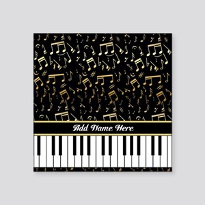 Personalized Gold Musical notes piano Square Stick