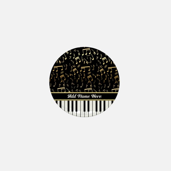 Personalized Gold Musical notes piano Mini Button