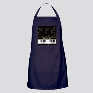 Personalized Gold Musical notes piano Apron (dark)