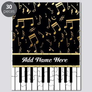 Personalized Piano Keys and Gold Music Notes Puzzl
