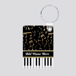 Personalized Piano Keys and Gold Music Notes Alumi