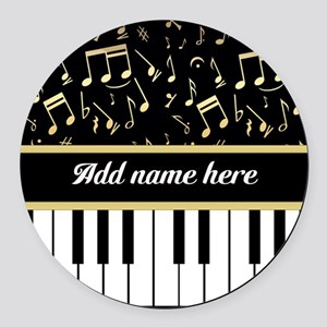 Personalized Piano and musical notes Round Car Mag