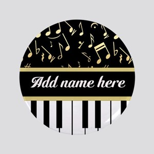 "Personalized Piano and musical notes 3.5"" Button"