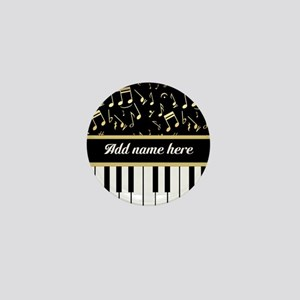 Personalized Piano and musical notes Mini Button