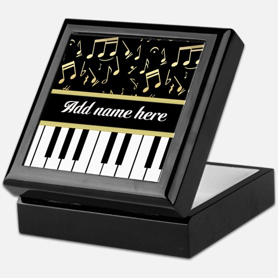 Personalized Piano and musical notes Keepsake Box