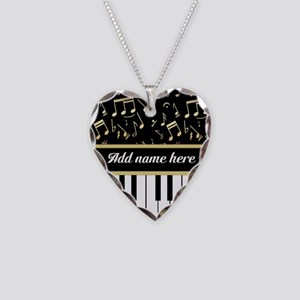 Personalized Piano and musical notes Necklace Hear