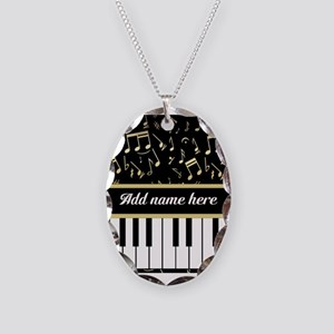 Personalized Piano and musical notes Necklace Oval